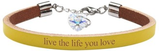 Genuine Leather Bracelet Made with Crystals From Swarovski by Pink Box Live The Life You Love Yellow