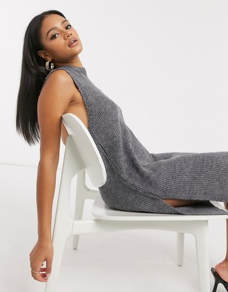 Y.A.S knitted tunic sleeveless top in grey