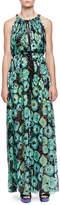 Lanvin Floral-Print Tassel Drawstring-Neck Maxi Dress
