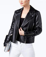 MICHAEL Michael Kors Ruffled Leather Biker Jacket