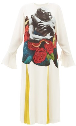 Valentino Lovers-print Silk-georgette Dress - Womens - White Print