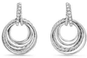 David Yurman Crossover Drop Earrings With Diamonds, 30Mm