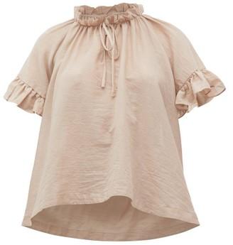Loup Charmant Marina Ruffle-trimmed Organic-cotton Top - Womens - Light Pink