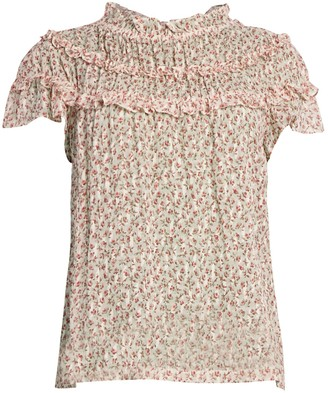 Rebecca Taylor Francesca Floral Tier-Ruffle Silk-Blend Blouse