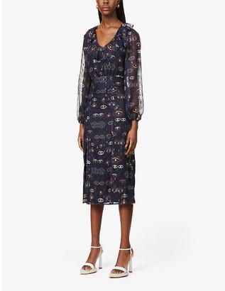 NEVER FULLY DRESSED Iris eye-print semi-sheer chiffon midi dress