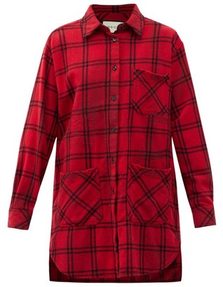 Gucci Oversized Checked Wool-blend Flannel Shirt - Red Multi