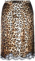 Givenchy lace hem pencil skirt - women - Silk/Cotton/Polyamide - 36