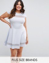 Club L Plus Mesh Insert Skater Dress With Cap Sleeve