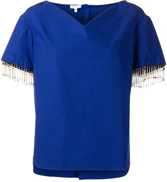 DELPOZO Cotton-Mix Shirt With Beaded Trim