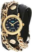 La Mer Women's LMMULTI2016 Black Magic Gold-Plated Watch with Black Wrap Band