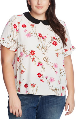 CeCe Enchanted Wildflower Collar Blouse