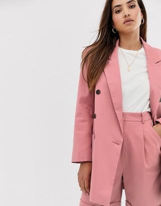 Asos Design DESIGN oversized double breasted dad suit blazer-Pink