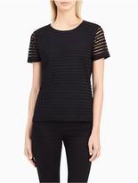 Calvin Klein Striped Mesh Double Layer Top