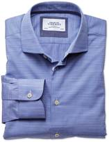 Charles Tyrwhitt Extra slim fit semi-spread collar business casual slub cotton blue shirt