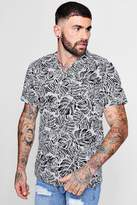 Leaf Print Short Sleeve Revere Shirt