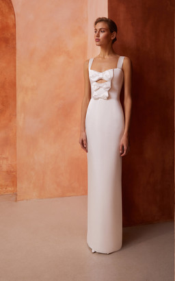 Rasario Bridal Bow-Embellished Cutout Satin Gown