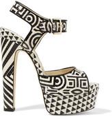 Brian Atwood Karin Printed Elaphe Platform Sandals
