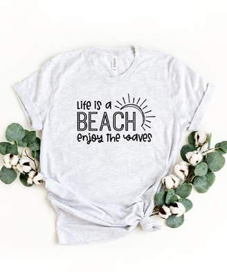 Ash Simply Sage Market Women's Tee Shirts  & Black 'Life Is A Beach Enjoy The Waves' Crewneck Tee - Women