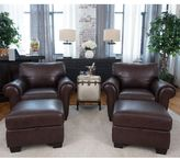 Elements Fine Home Furnishings Lodge Coco Top Grain Leather 4-Piece Chair and Ottoman Set