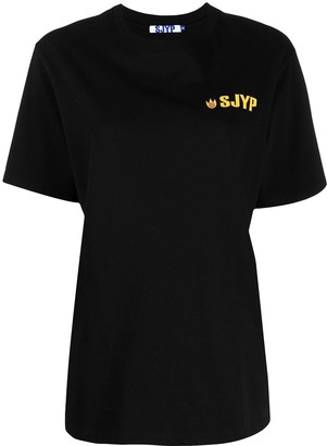 Sjyp Flame-Print Cotton T-Shirt