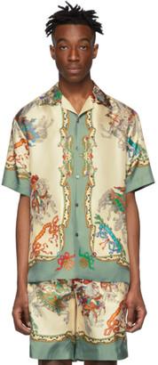 Gucci Off-White Silk Jousting Bowling Shirt