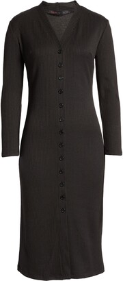 Fraiche by J Front Button Ribbed Long Sleeve Midi Dress