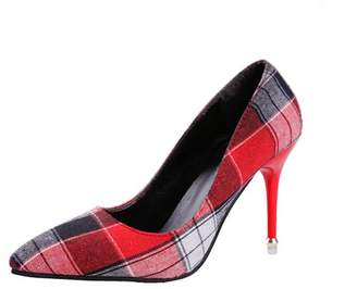 Kadell Meigar Fashion Elegant Autumn Women Slip on Sandals 8cm High Heel Pointed Pointy Toe Dress Plain Pump Plaid Style Casual Office Party Shoes for Female Ladies(Red,Black,Coffee)