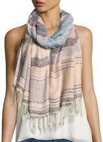 Neiman Marcus Turkish Towel Striped Scarf, Blue