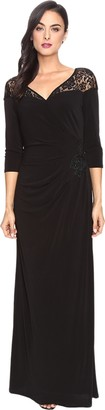 Sangria Women's 3/4 Sleeve Gown with Side Broquade and Shoulder Lace Detail
