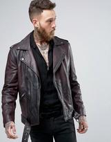 Asos Belted Leather Biker Jacket In Washed Burgundy