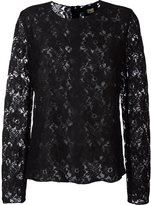 Class Roberto Cavalli lace longlsleeved top - women - Viscose/Polyamide/Polyester - 42