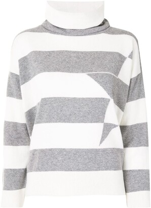 Lorena Antoniazzi Striped Star Detail Jumper