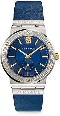 Versace Greco Logo Two-Tone Chronograph Leather Strap Watch