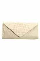 JJ Winters Leather Croco Envelope Clutch in Bone