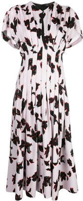 Proenza Schouler Georgette Short Sleeve Floral Pleated Dress