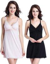 LANFEI Lace Trim Nursing Nightgown Lounge Maternity Sleepwear Chemise