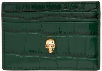 Alexander McQueen Green Croc Skull Card Holder