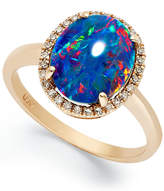 Macy's 14k Rose Gold Ring, Opal Triplet and Diamond (1/10 ct. t.w.) Oval-Shaped Ring