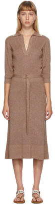 Chloé Beige and Off-White Wool and Silk Belted Dress