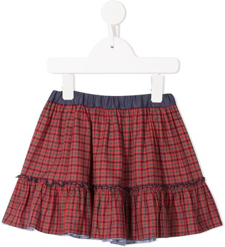 Familiar checked tiered skirt