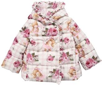MonnaLisa Hooded Floral Print Nylon Down Jacket