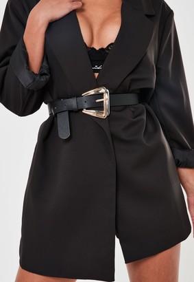 Missguided Black Double Buckle Belt