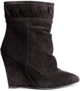 H&M Suede Wedge-heeled Ankle Boots - Black - Ladies