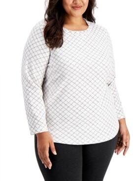 Karen Scott Plus Size Printed Fleece Top, Created for Macy's
