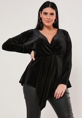 Missguided Plus Size Black Velvet Draped Front Top