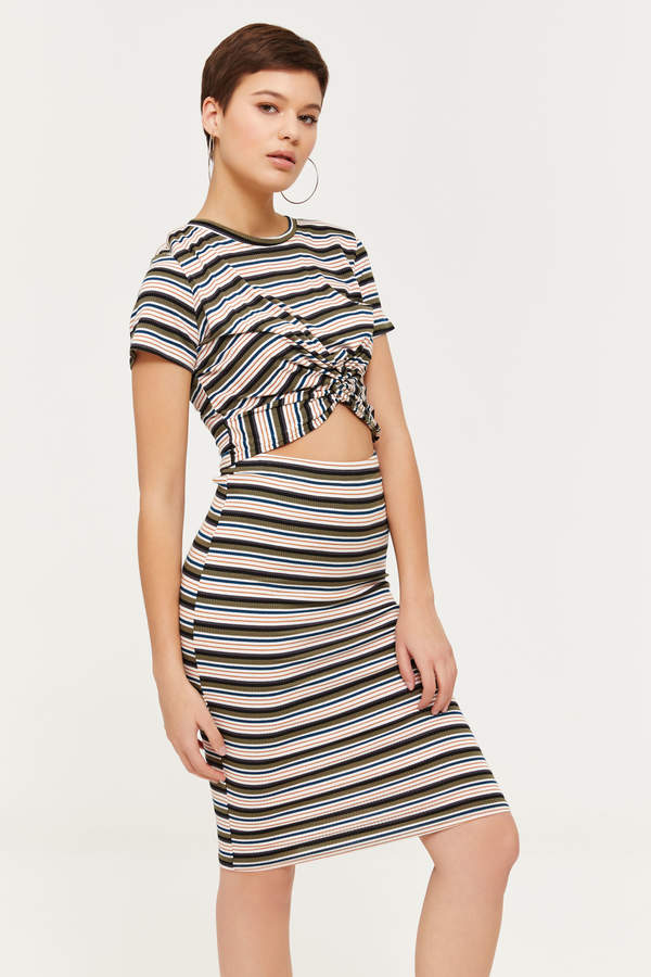 Striped Ribbed Midi Skirt - Clothing |