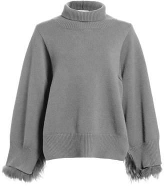 Fabiana Filippi Fox Fur-Trim Funnelneck Sweater