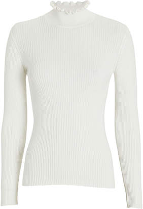 Frame Ruffled Cotton-Cashmere Mock Neck Sweater