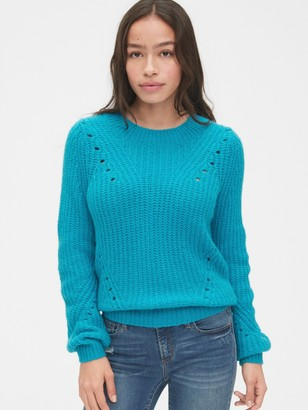 Gap Brushed Wool-Blend Pointelle Crewneck Sweater