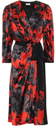 Dries Van Noten Floral silk-satin wrap dress